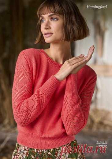 #вязаный_пуловер@modnoe.vyazanie Коралловый джемпер. Схема.