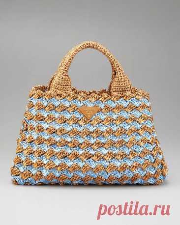 Вязаная крючком сумка от Prada+СХЕМЫ. Связать стильную сумку крючком схема   Домоводство для всей семьи.