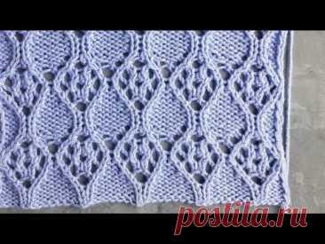 Красивейший ажурный узор спицами в виде ромбов для вязания палантина, летних платьев, кофточек - YouTube