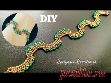 Wavy Bicone Bracelet    How to make Beaded Bracelet    Pulsera