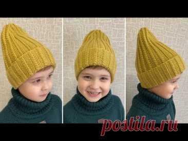 Зимняя шапка резинка с удлиннённой макушкой