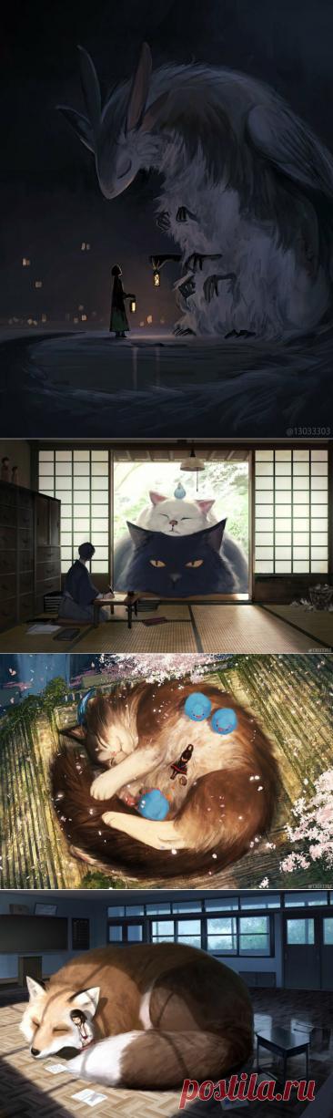 Сказочный мир японской художницы, где живут огромные животные