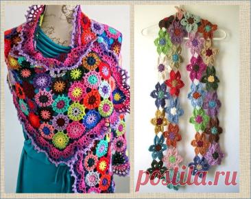 Цветные вязалочки палантины и шали крючком со схемами