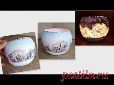 DIY/ Very Easy Winter Candle Holder /Home  Craft Ideas