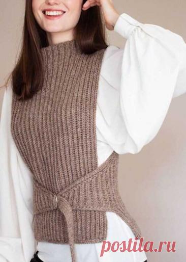 Эффектный вязаный жилет. Может кто-то свяжет своими руками #жилет #вязание