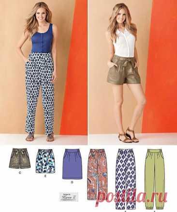 Комплект одежды для женщин: Юбка, шорты, брюки #Готовые_выкройки на размеры 8-16 англ