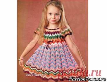 Платье для девочки с узором «зигзаг». Описание и схема   Детская одежда крючком. Схемы
