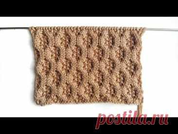 Узор Соты на мелкой жемчужной вязке спицами для вязания женских, мужских и детских изделий