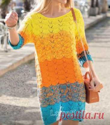 Цветное ажурное платье свободного фасона схема спицами
