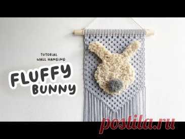 Настенный пушистый кролик макраме