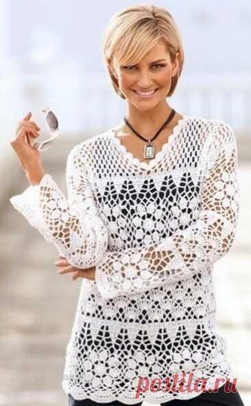 Туника крючком для женщин со схемами | Вязание | Яндекс Дзен