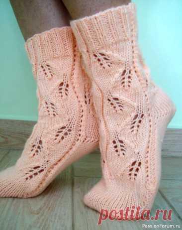 """Винтажные носки """"ПЕПЕЛ РОЗЫ"""". Двумя спицами."""