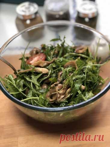 Салат с рукколой, вешенками и черри рецепт с фото пошагово