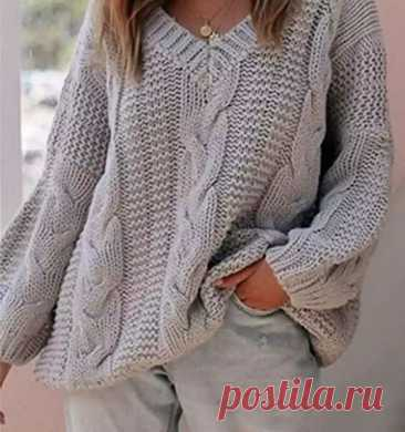 Пуловер оверсайз спицами с описанием | Хозяйка своего дома | Яндекс Дзен