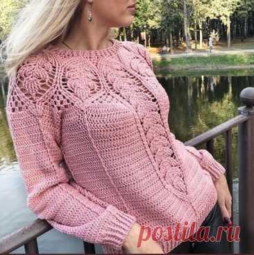 Вязание кокетки красивым узором для пуловера необычайной красоты