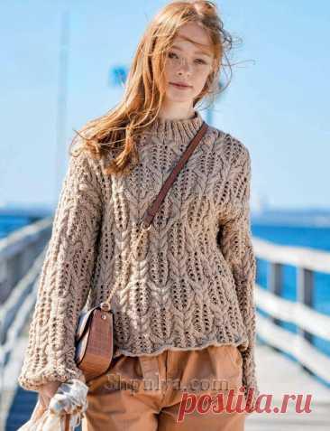 Пуловер с дырчатым узором с «косами» — Shpulya.com - схемы с описанием для вязания спицами и крючком