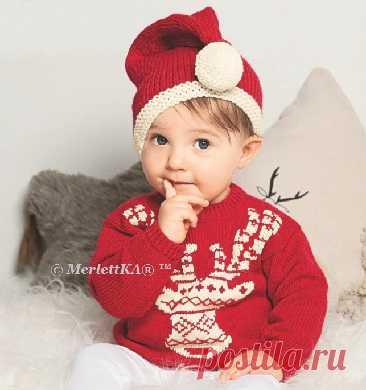 Новогоднее вязание для малышей - ШАПОЧКА-КОЛПАЧОК спицами