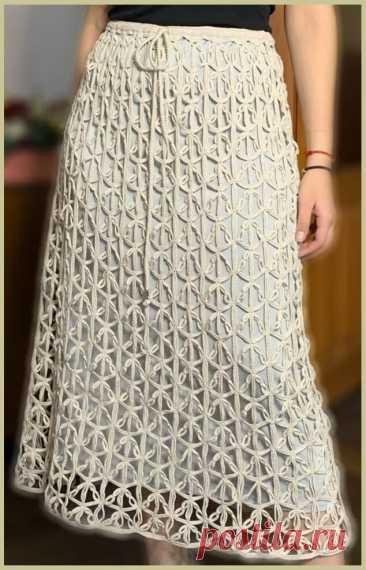 """Ажурная юбка крючком. Эта юбка, действительно, АЖУРНАЯ. Не только потому, что она выполнена ажурным узором, а потому что это просто ажурные вензеля какие-то. Какие только образы не пришли мне в голову, глядя на эти кружева.  Автор этой юбки - Марина Низамова.  Юбочка связана по схеме из коллекции """"Кружевные полотна Нели Соловей"""", опубликованной в журнале """"Дуплет""""  Использована пряжа E.Miroglio хлопок 100% 1600/100 в три нити, крючок 1,5."""