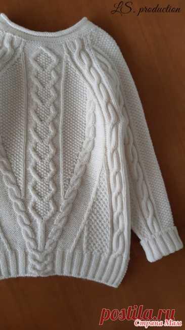 Белый вязаный свитер + черная стильная шапочка - Вязание - Страна Мам