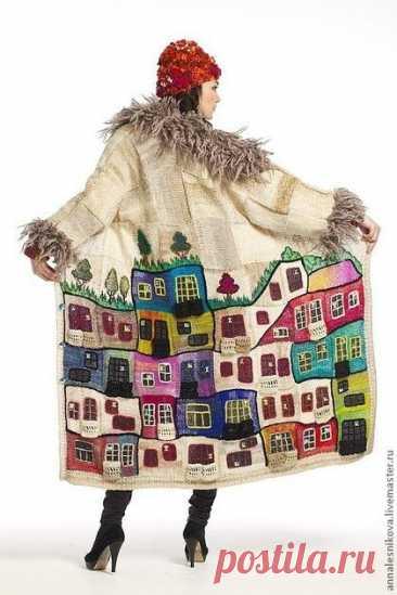 Купить или заказать Пальто 'Хундертвассер forever!!!!!' в интернет-магазине на Ярмарке Мастеров. Пвльто выполнено вручную из пряжи Норо , опушка - Анни Блатт. Хундертвассер - австрийский гениальный…
