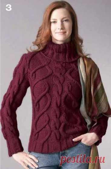 женский вязаный свитер с рукавом реглан вязание спицами пуловер
