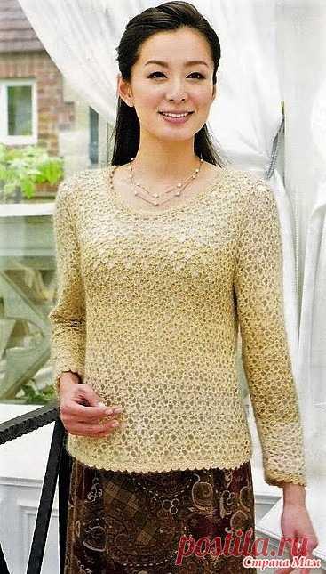 Ажурный пуловер крючком. http://maravilhasdaedu.blogspot.com/