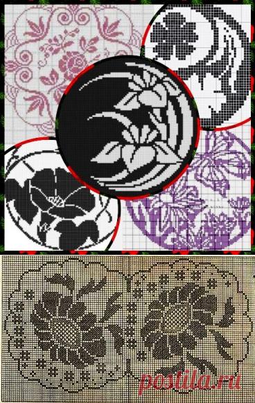 Круглые салфетки на филейной сетке - цветочное разнообразие | Левреткоман-оч.умелец | Яндекс Дзен