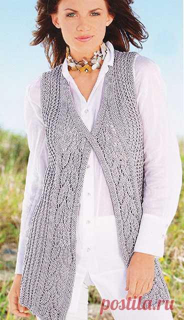 Стройнящий удлиненный жилет Березка спицами — Пошивчик одежды