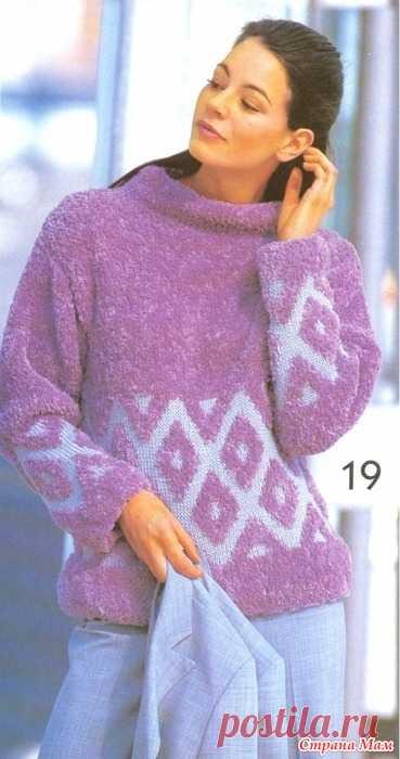 свитер с ромбами из плюшевой пряжи на польском языке вязание