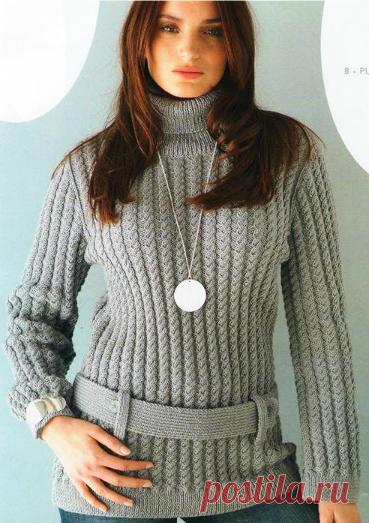вязание спицами свитера для полных женщин