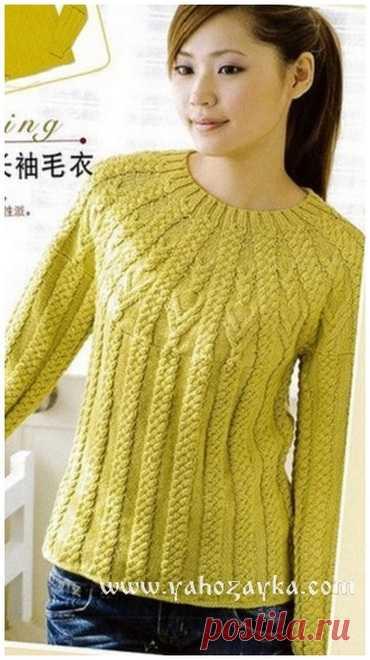 пуловер с круглой кокеткой спицами схема вязания пуловера спицами