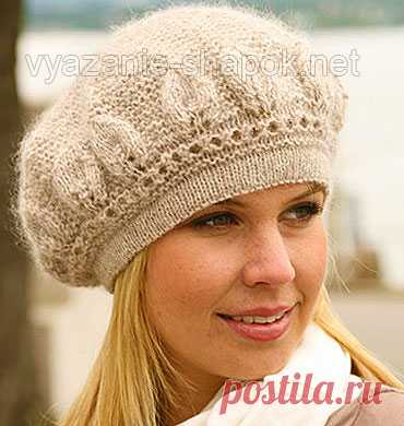 Зимний берет спицами из мохера | ВЯЗАНИЕ ШАПОК: женские шапки спицами и крючком, мужские и детские