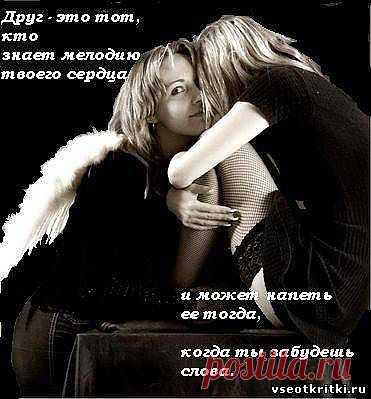Друг - это тот, кто знает мелодию твоего сердца и может напеть ее тогда, когда ты забудешь слова. Афоризмы в картинках.