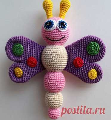 1000 схем амигуруми на русском: Бабочка-погремушка