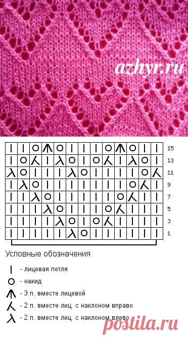 Ажурный узор сердечки Схема   АЖУР - схемы узоров