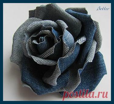 Текстильные фантазии и не только: Розы из джинсовой ткани