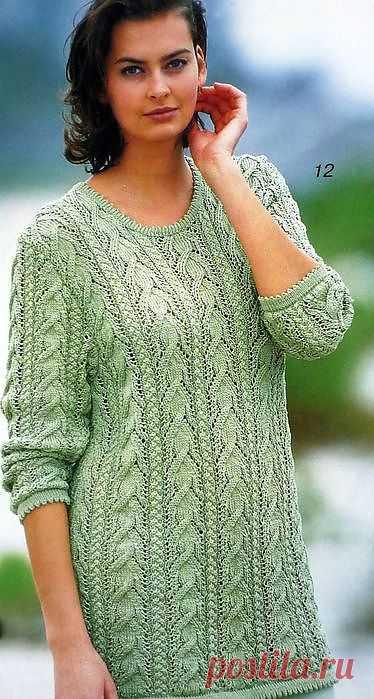 Пуловеры с рельефными узорами спицами..