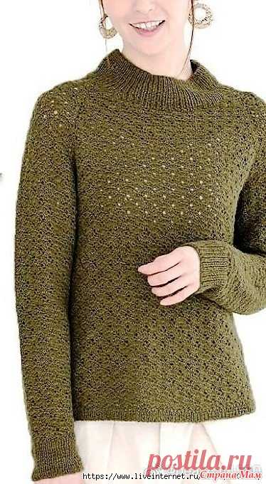 Джемпер цвета хаки с рукавами реглан и вырезом под горлышко