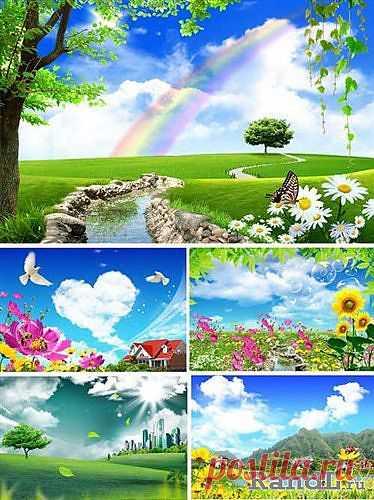 Лето с радугой и облаками (многослойные PSD) » RandL.ru - Все о графике, photoshop и дизайне. Скачать бесплатно photoshop, фото, картинки, обои, рисунки, иконки, клипарты, шаблоны.