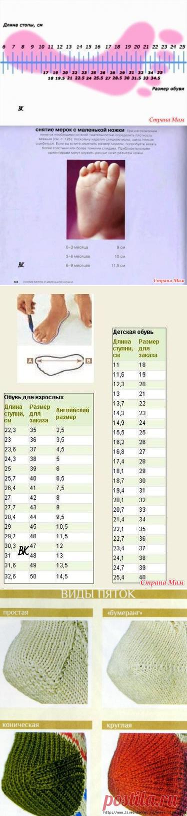 Шпаргалки для вязания носков