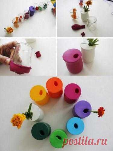 Стильная ваза за 5 минут.  Наступила пора весны и букетов, а вот какую вазу можно сделать из простого стакана и воздушного шарика.