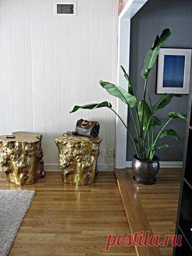 Мебель из деревянного пня.