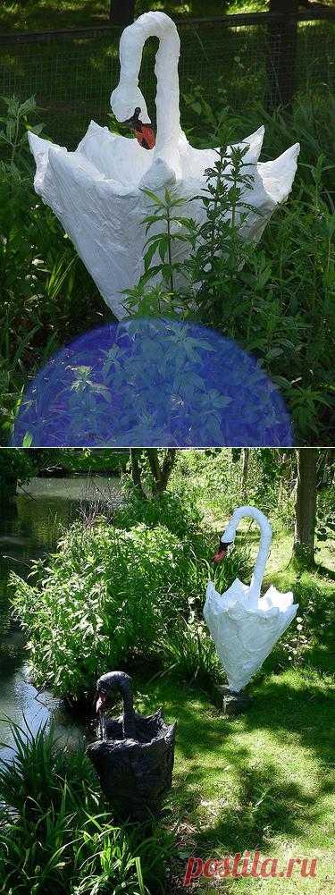 Старый зонтик + пакет = ... Лебедь!.
