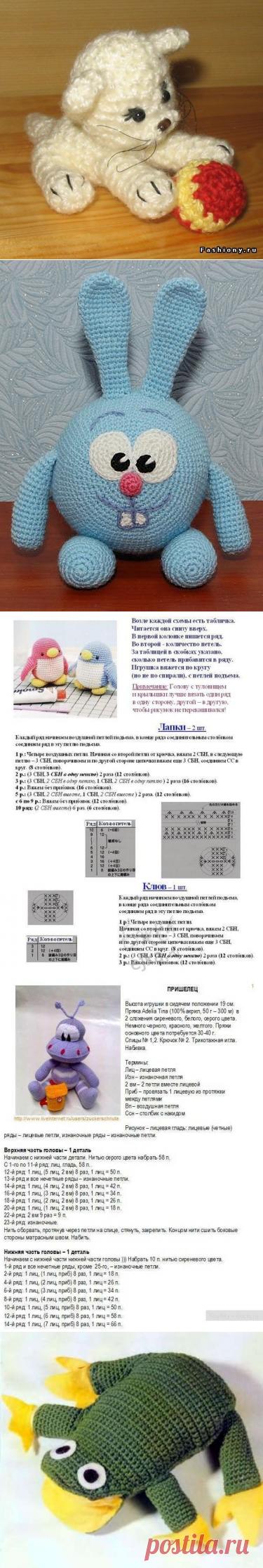 Вязаные игрушки крючком со схемами и описанием: заяц и ...