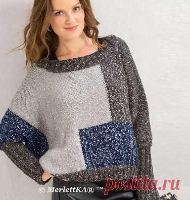 Вязание спицами - Пуловер оверсайз
