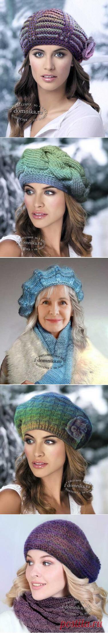 Зимние береты и шапки для дам разного возраста - 6 моделей вязаных шапок