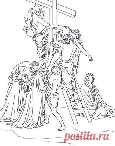 Dibujo Para Colorear Decimotercera Estacion Jesus Es Bajado De