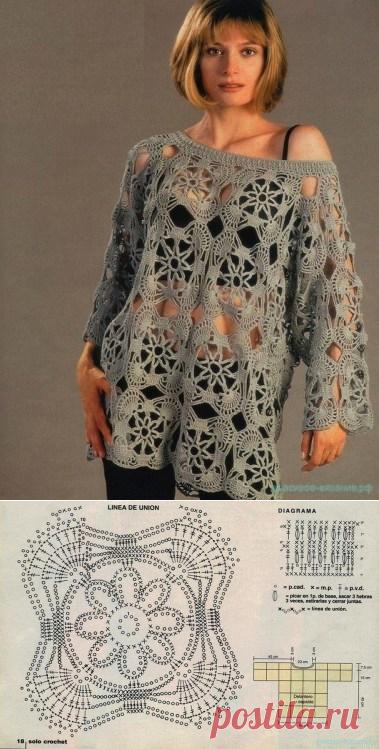Туника мотивами. — Красивое вязание
