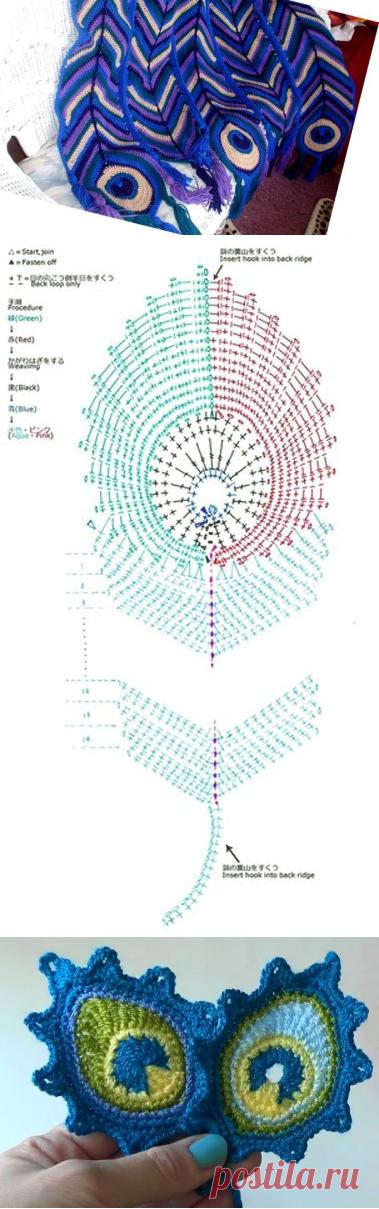 схема хвост павлина фото вязание это техника