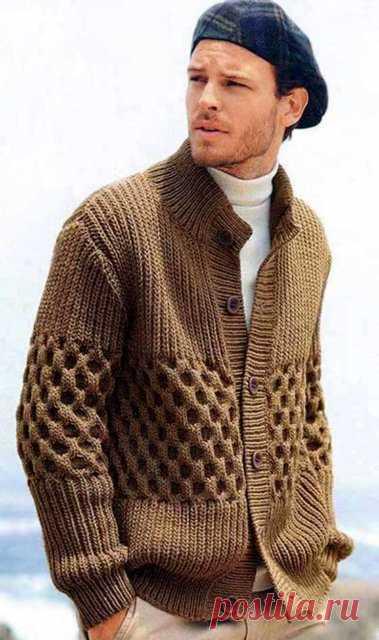 Мужской жакет с рельефным узором | Вязание от А до Я